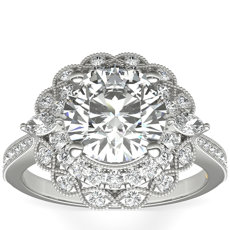 ZAC Zac Posen Marquise Double Halo Diamond Engagement Ring in 14k White Gold